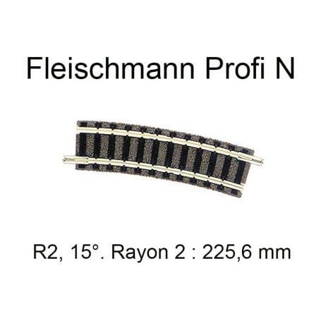 "Trilho Curvo R 2 15º ""N"" Fleischmann ""picollo"" - 9127"