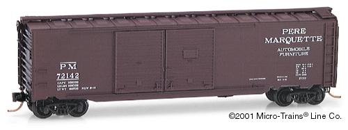 Vagão Auto Box Car, Double Side Doors- Pere Marquette  Micro-Trains - 78100