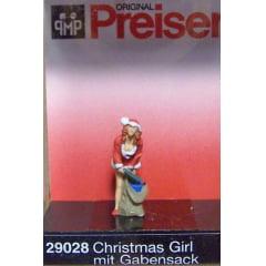 Figura Preiser Menina com saco de Presentes - 29028