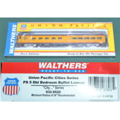 Union Pacific (R) City Streamliner Cars prontos para rodar - 5 quartos duplos Buffet-Lounge PS PLan # 1097 (Armor Yellow, cinza)